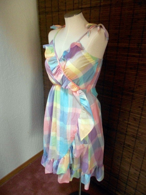 Vintage Pastel Plaid Ruffle Neck Lolita Sundress M