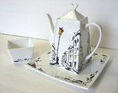 Teapot with Sugar Jar - RAINY STREET - Original decorative painting by Yury Tarler - tbteam