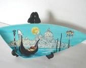 Venice, Gondola - Decorative Plate, Original painting by Yury Tarler, porcelain black blue aqua white yellow fathers day handmade gift for him dad man