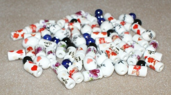 Destash - White Ceramic Beads with blue and black spacer beads (38)