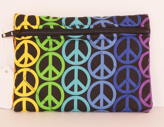 Multi colored peace sign pouch - Medium (M5)
