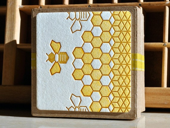 Letterpress Coasters -Honey, Honey - Set of 8