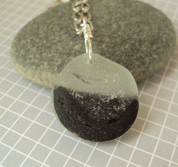 Black and White End of Day Seaglass Necklace