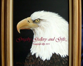 """Eagle Portrait- """"NOBLE WARRIOR"""" Original Acrylic 16 X 20 Framed, RedRobinArt, Grigsby Gallery and Gifts"""