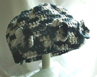 """BARGAIN CORNER, Flapper Style Cap, """"Contraire"""", Crocheted in variegated Black-Grey-White, three flowers, Was 24.95, RedRobinArt"""