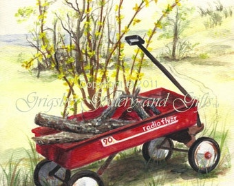 "Original Watercolor Painting, ""RADIO FLYER"", 9 in. x 12 in., Unframed, RedRobinArt, Grigsby Gallery and Gifts"