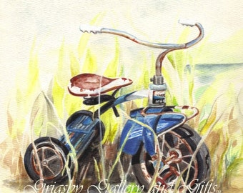 "Original Watercolor Painting, ""TIME MACHINE"", Murray tricycle, RedRobinArt, Grigsby Gallery and Gifts"