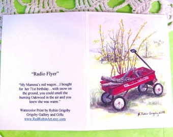 "Art Note Card Set of 8, from Original Watercolor ""RADIO FLYER"""