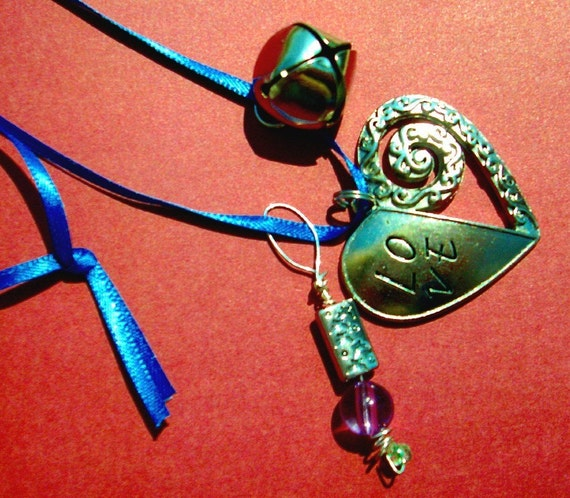 HEART LOVE NECKLACE, Silver, Jingle Bell, Hand Twisted Pendent, RedRobinArt