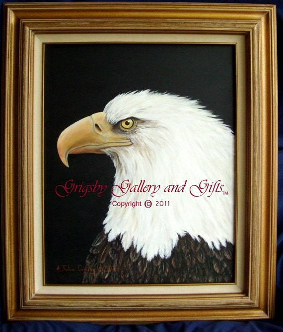 "Eagle Portrait,  ""NOBLE WARRIOR"" Acrylic 16 X 20 Framed Original, RedRobinArt, Grigsby Gallery and Gifts"