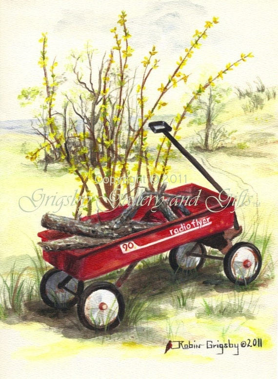 """Original Watercolor Painting, """"RADIO FLYER"""", 9 in. x 12 in., Unframed, RedRobinArt, Grigsby Gallery and Gifts"""