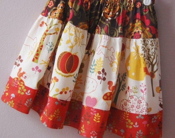 Wee Woodland Twirl Skirt -- Size 7/8 -- Ready to Ship -- Keiki for Moda