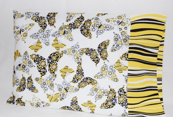 SALE -- Travel Size or Child Size Pillow Case -- Black and Yellow Butterflies
