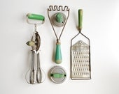 Instant collection - Vintage green handled kitchen utensils