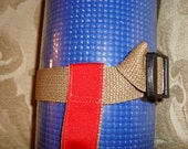 1 Inch Tan and Red Adjustable Yoga Mat Sling