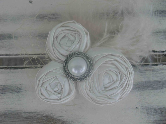 Gorgeous ivory satin rosette hairpiece-READY to ship