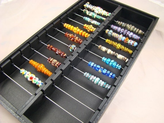 Display storage lampwork bead box will also fit Chamilia, Biagi, Troll and all of the large hole European style beads........ two-sectioned