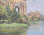 gorgeous 1916 painting, the palace of fine arts, san francisco. by e curjel.