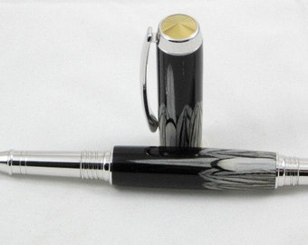 Silver Pheasant Feathers Rhodium and Gold ti Rollerball