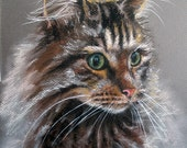 """Custom Cat Portraits Pastel Painting 11x14"""" Perfect Christmas Gift for Pet Lovers"""