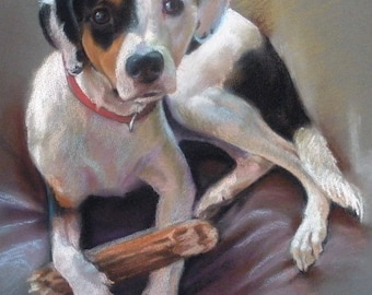 "11x14"" Custom Dog Portraits Pastel Paintings From Your Photo"