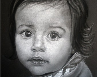 "11x14"" Custom Portrait Pastel Black and White Child  Drawing"