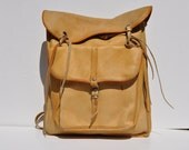 large vintage brown LEATHER BACKPACK tote rucksack back pack ruck sack