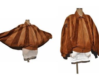 vintage batwing leather jacket coat INSANE slouch hip hop