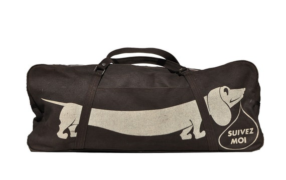 Reserved Vintage Weiner Dog Tote Carry On Duffle Bag Duffel
