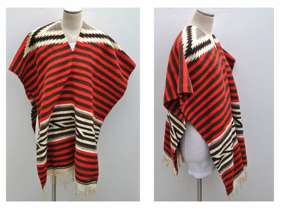 RESERVED vintage wool serape drug rug coat jacket poncho shawl cape coat