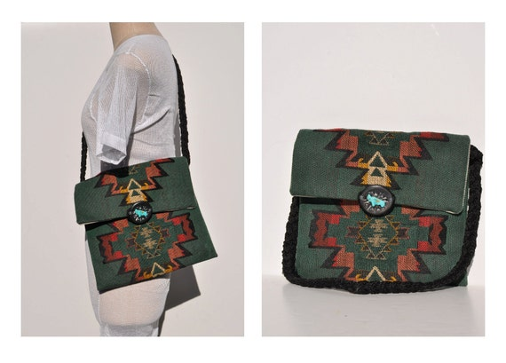 vintage native american indian ethnic print tote bag cross body