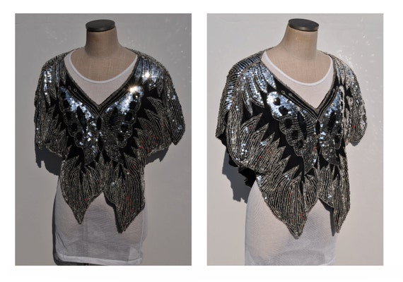 RESERVED for COLLETTE glam vintage butterfly sparkly shirt top amazing