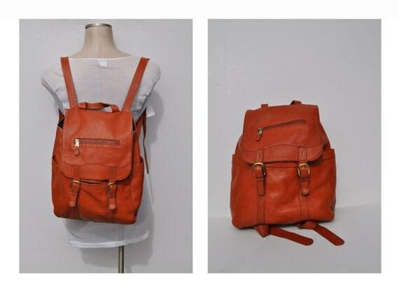 leather backpack  vintage brown LEATHER BACKPACK tote rucksack back pack ruck sack