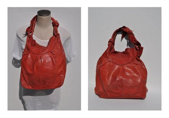vintage leather bag shoulder tote purse carry all bucket bag