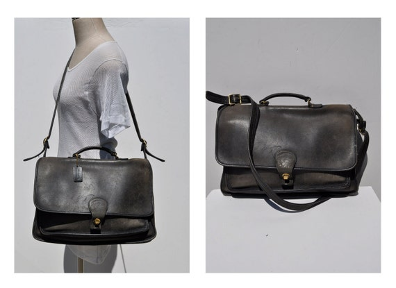 vintage leather MESSENGER BAG tote laptop carry all COACH