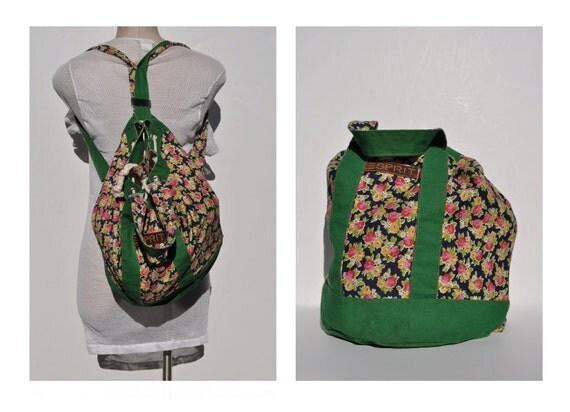 esprit vintage cotton shoulder bag back pack backpack rucksack ruck sack tote