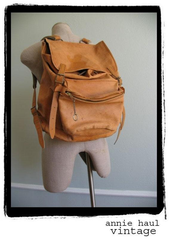 1970s vintage leather backpack rucksack hippie 70s. Black Bedroom Furniture Sets. Home Design Ideas