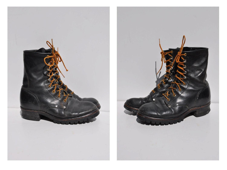logger lineman vintage stacked heel leather boots mens 7