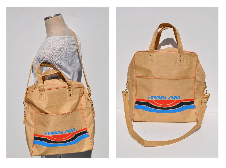 Pan Am Vintage Bag Canvas Bag Shoulder Cross Body Purse