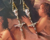 Blessings - Vintage Rosary Assemblage Earrings Sacred Earrings