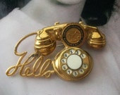 Vintage Brooch Brass Rotary Dial Hello Telephone Brooch Glee Thousand Islands Bridge Alexandria Bay New York Souvenir Pin