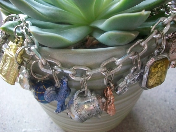 Playground In My Mind - Vintage Bubblegum Or Cracker Jack Prize Charm Assemblage Bracelet