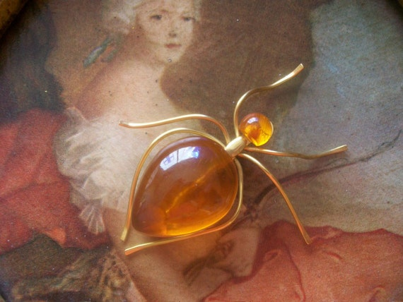 Fabulous Vintage Russian Amber Spider Brooch