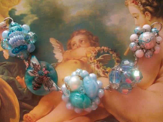 Garden Party - Vintage Aqua And Turquoise Enamel Bee Cluster Earring Assemblage Bracelet, Wedding Jewelry, Bridesmaid Gift