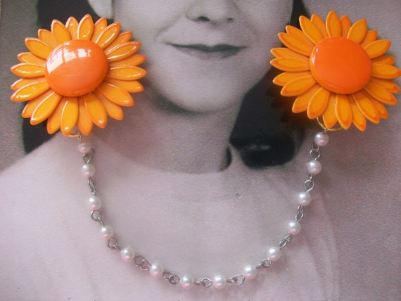 Vintage Orange Enamel Flower Earring Sweater Guard Clip