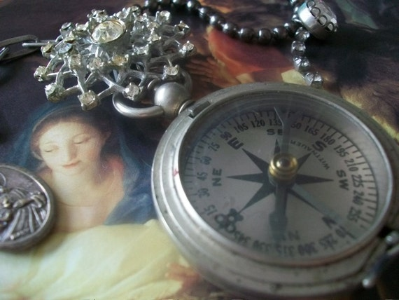 Guiding Light - Antique Compass And Vintage Rhinestone Star Brooch Holy Medal Assemblage Necklace