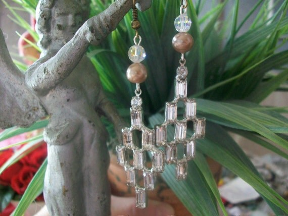 Vintage Sparkle -  Gorgeous Vintage Rhinestone And Faux Pearl Assemblage Earrings Wedding Earrings Bridesmaid Gift