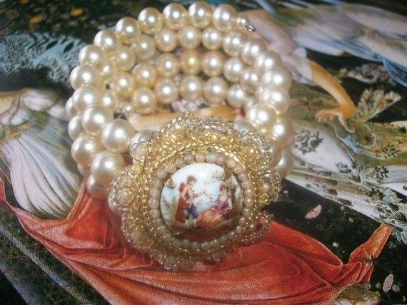 Reserved-Farmhouse Chic Vintage Portrait Brooch Faux Pearl Assemblage Bracelet Wedding Bracelet Bridesmaid Gift Boho Chic Cottage Chic Gypsy