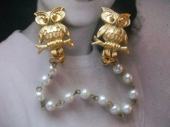 What A Hoot Fabulous Vintage Owl Sweater Guard Clip Glee Mad Men
