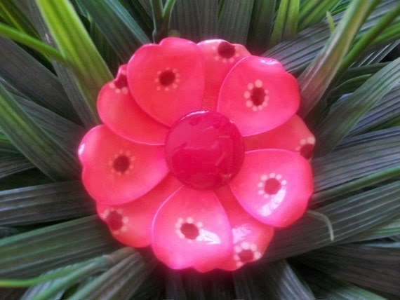 Vintage Pink And Red Enamel Flower Brooch And Clip On Earring Set, Mad Men, Glee